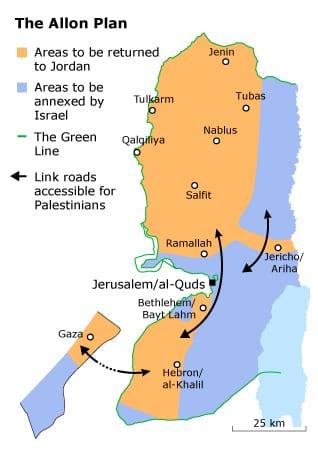 Allon plan on map