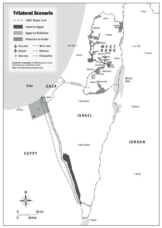 خريطة التبادل الثلاثي لـ : سيناء والضفة وأجزاء من النقب