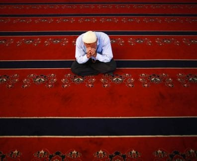 A Muslim man is seen after Friday prayers in Kocatepe Camisi mosque in Ankara