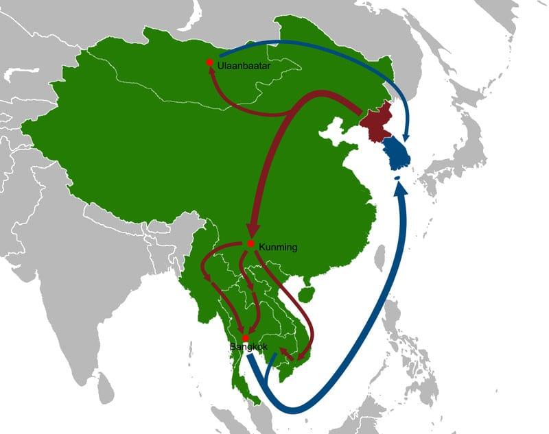 11 حقيقة غريبة لا تعرفها عن كوريا الشمالية 17-North_Korean_defector_routes_map