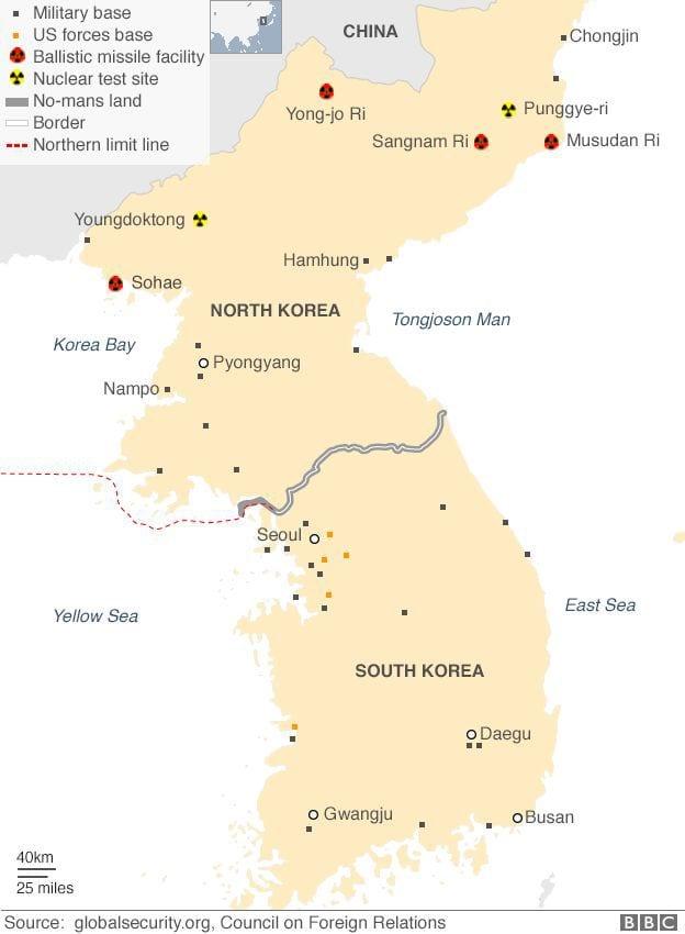 11 حقيقة غريبة لا تعرفها عن كوريا الشمالية 27-_95471553_koreas_map_624_long2