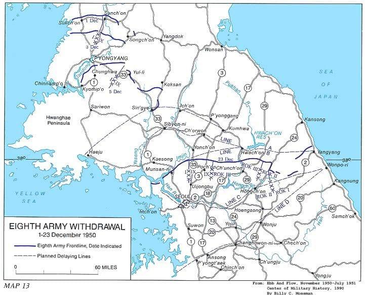 11 حقيقة غريبة لا تعرفها عن كوريا الشمالية 5-Map_Eighth_Army_Retreat