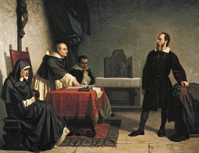 لوحة للرسام كريستيانو بانتي تُمثِّل مُحاكمة جاليليو